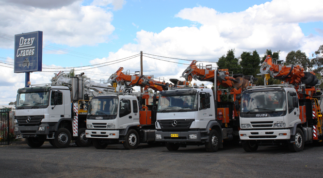 Ozzy Cranes's trucks at their factory